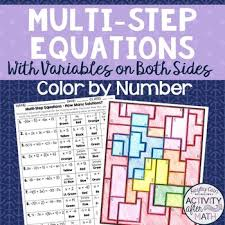 multi step equations how many solutions color by number tpt