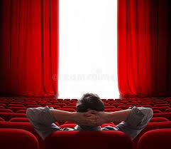 cinema screen red curtains opening for vip person stock photo