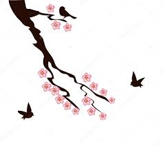 cherry blossom tree branch stock vector lilac design 118269328