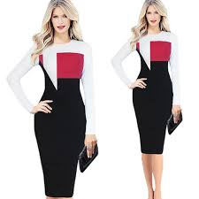 fashion long sleeved dresses patch work office pencil dress for ol