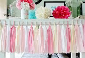 pink white and tissue paper tassel garland wedding