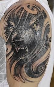 grey ink wolf on left half sleeve