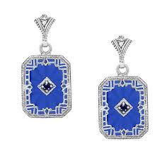 royal blue earrings deco filigree royal blue sun and sapphire earrings