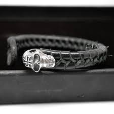 sterling silver cross skull braided leather bracelet callvogue