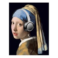 girl pearl earing girl with pearl earring and headphones postcard zazzle