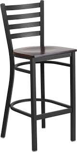 Metal Bar Stools With Wood Seat Bettina Dark Iron Metal Bar Stool Walnut Wood Seat Table Base Depot