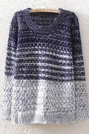 dark blue ombre long sleeve knitted sweater women u0027s pullover