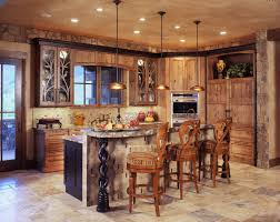 rustic kitchen backsplash designs wooden island grey cabinetry