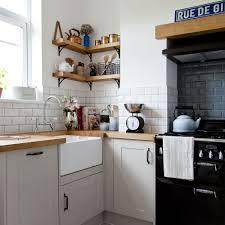 kitchens traditional kitchen with wooden worktop also black