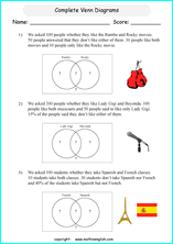 printable venn diagram worksheets for grade 6 or 7 math students