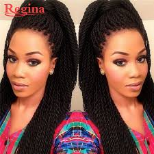 long black braided front lace wig synthetic heat resistant crochet