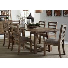 trestle dining table set liberty furniture prescott valley rustic 7 piece 96 trestle table