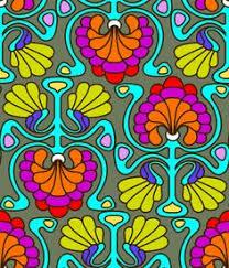 Muster Blau Grün Retro Paisley 70er Muster Der Kleinen Fummelhummel Auf Stoffn