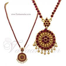 necklace red stone images Antique design long necklace red stone buy traditional indian jpg