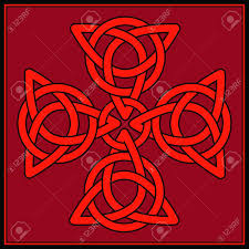 Shaeds Of Red by A Cross Formed Of Celtic Knots In Shades Of Red And Black Royalty
