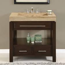 Bathroom Vanity Units Without Sink Bathroom Contemporary Brown Lacquered Mahogany Open Shelf Vanity