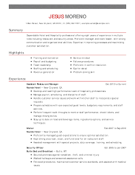 Hotel Resume Samples by Customer Service Hospitality Resume Free Resume Example And