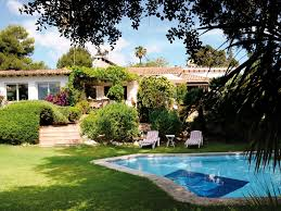 single storey detached villa with pool garden guest house in