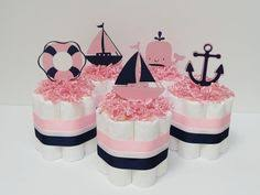 Nautical Themed Ribbon - navy and pink preppy nautical themed ribbon wreath for birthday