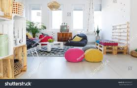 colorful retro living room pouf tv stock photo 640290472
