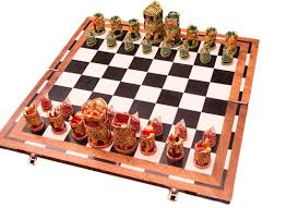 handcrafted motifs wooden chess board game