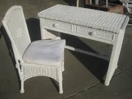 Rattan Desk Chair Vintage White Wicker Bedroom Rocking Chair Which Furnished With