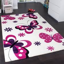 grand tapis chambre fille enfants tapenfants tapis papillon crème roseis papillon crème