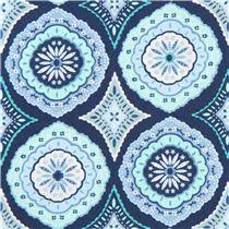 navy blue michael miller fabric mint green shape ornament pattern