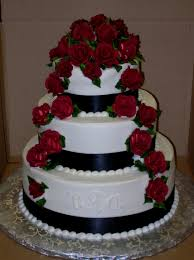 wedding cake with red roses and ribbon tbrb info