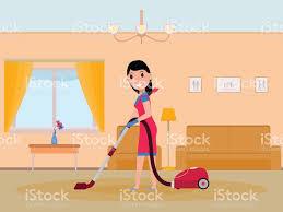 vector cartoon maid cleaning apartment stock vector art