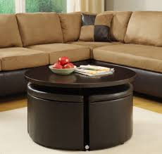 Ottoman With Shelf by Furniture Elegant Coffee Table Design Ideas With Round Leather