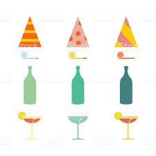 party set celebratory cap and party horn alcohol cocktail stock