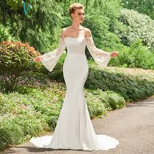 trumpet wedding dresses dressv ivory wedding dress the shoulder sleeves mermaid