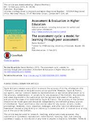 the assessment cycle a model for learning through peer assessment