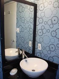here are some ideas to decorate your bathroom walls with wallpaper