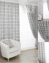 Grey Plaid Curtains Grey Jacquard Eco Friendly Linen Window Curtains