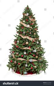 isolated tree decorated ornaments burlap stock photo