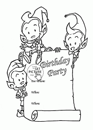 birthday party card with funny elves coloring page for kids