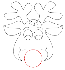 rudolph reindeer face craft for coloring in page glum me