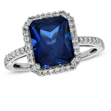 saphire rings emerald cut lab created blue and white sapphire ring in sterling