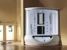 bathroom ideas corner tub shower combo units in white color using