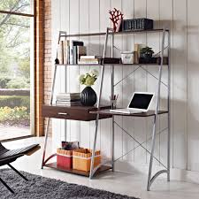 decor u0026 tips cool white ladder bookshelves with computer desk and