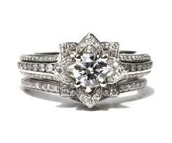 wedding set wedding set unique flower diamond engagement ring and