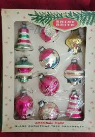 vintage tree glass pink shiny brite ornaments original