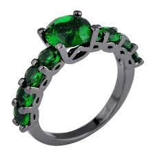 emerald jewelry rings images Buy elegant emerald jewelry black gold filled ring for women men jpg