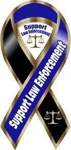 black and blue ribbon support enforcement blue black large ribbon magnet