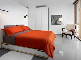 m andal bed with red bedding bedroom modern and contemporary