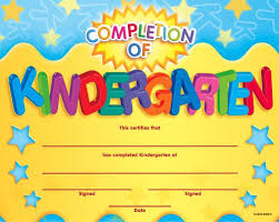 kindergarten certificates kindergarten certificates of