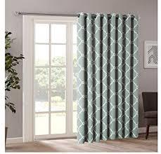 Patio Door Panel Curtains by Amazon Com 1 Piece 84 Inch Seafoam Color Geometric Sliding Door