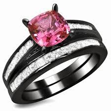 black wedding ring set vancaro black and pink wedding ring set
